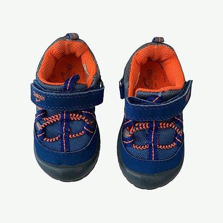OSHKOSH tênis azul royal e laranja velcro USA 5 BRA 20