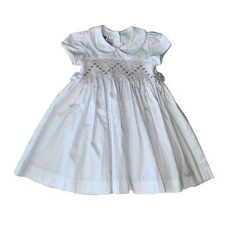 PAOLA BIMBI vestido casinha de abelha branco fustão c calcinha det rosa tam G (2 anos)