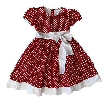 MAISON BABY vestido vermelho pois branco 3 anos