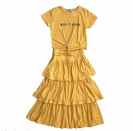 MIXED conjunto de malha amarelo blusa e saia 8 anos