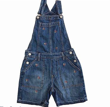 GAP KIDS jardineira jeans short c flores bordada L 9-10 anos