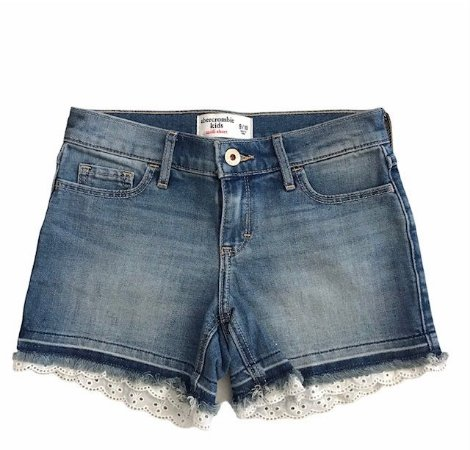 ABERCROMBIE short jeans barra bordado inglês 9-10 anos