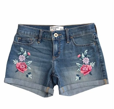 ABERCROMBIE short jeans bordado flores 9-10 anos