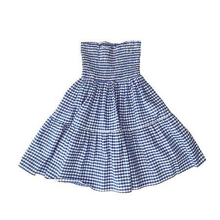 TROIS PETIT saia xadrez azul látex cintura 6-8 anos