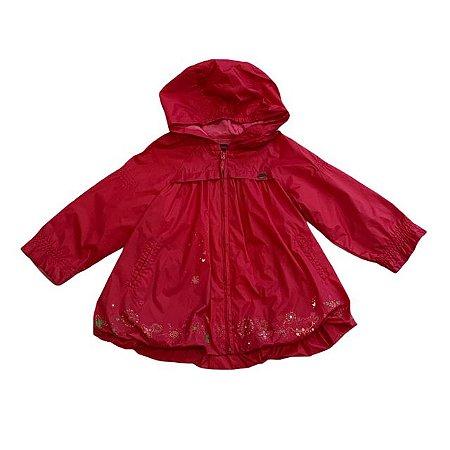CATIMINI casaco capuz de nylon vermelho 18 meses