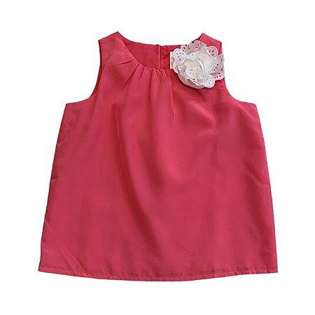 GYMBOREE blusa rosa com flor aplicada 5 anos