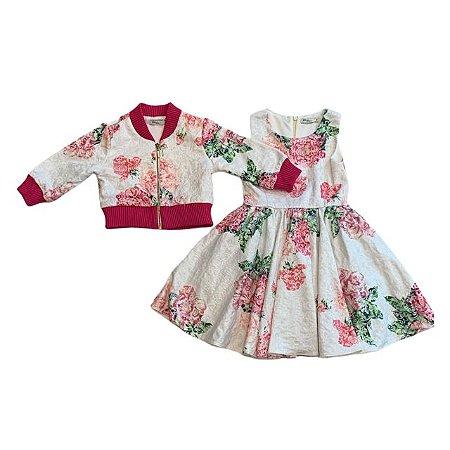 LILICA PATBO conjunto vestido e jaqueta flores brocado 4 anos