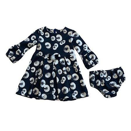 PAOLA BIMBI vestido c calcinha cinza com estp flores 2 anos