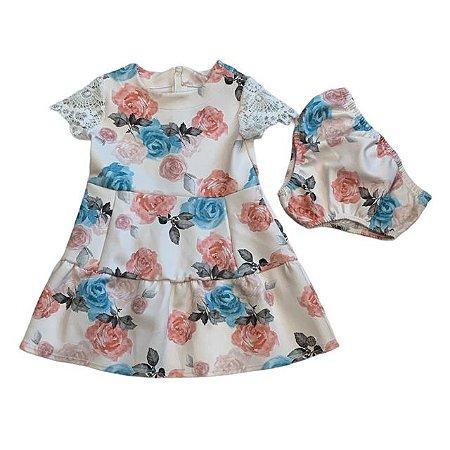 PAOLA BIMBI vestido c calcinha offwhite manga renda estp flores 2 anos