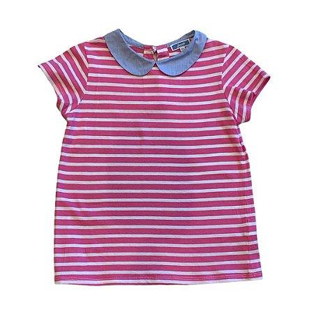JACADI camiseta rosa listras brancas gola azul 10 anos