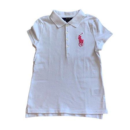 RALPH LAUREN camisa polo branca logo rosa grande 8-10 anos