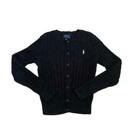 RALPH LAUREN casaco de linha preto 8-10 anos