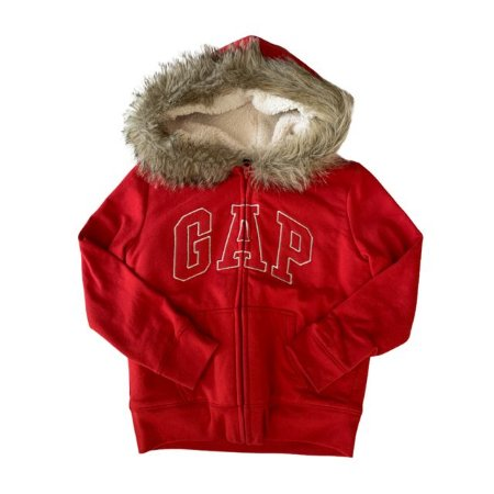 GAP KIDS casaco de moletom vermelho c capuz de pelos fake e forro soft 8-9 anos