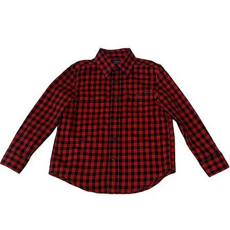 RALPH LAUREN camisa social xadrez vermelha e preta 4 anos