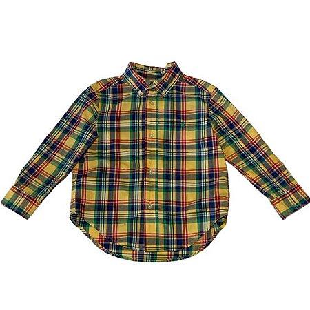 RALPH LAUREN camisa social xadrez amarela 3 anos