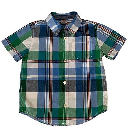 GYMBOREE camisa social xadrez azul e verde mg curta 3 anos
