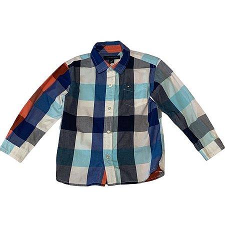 TOMMY HILFIGER camisa social xadrez laranja e azul 2 anos