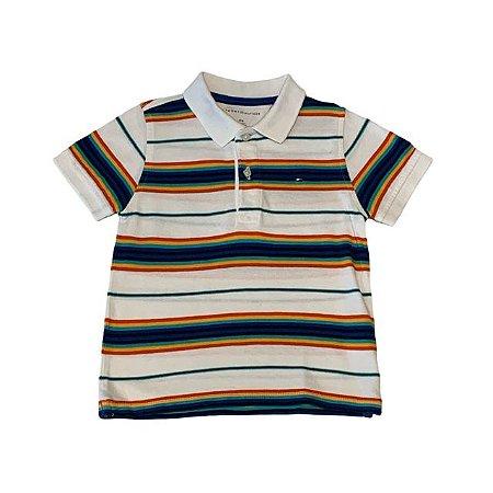 TOMMY HILFIGER camisa polo branca listras arco íris 4 anos