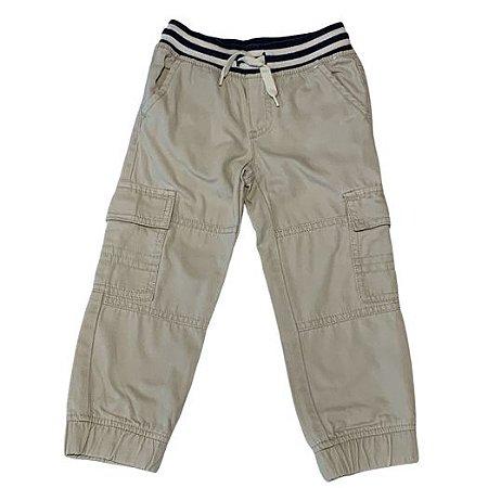 GYMBOREE calça bege elástico bicolor cintura 3 anos