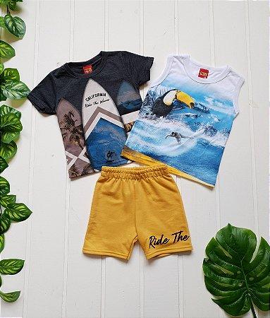 Conjunto Infantil Masculino - Regata + Camiseta + Bermuda - Combo 3 peças