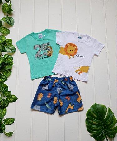 Conjunto Infantil Masculino - 2 Camisetas + Bermuda - Combo 3 peças