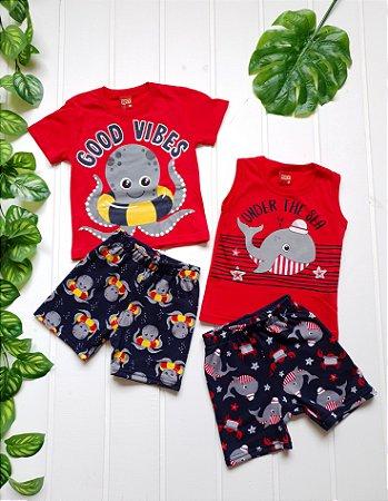 Conjunto Bebê Masculino - Regata + Camiseta + 2 Bermudas - Combo 4 peças