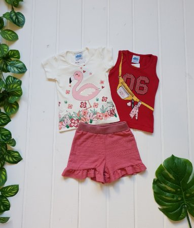 Conjunto Infantil Feminino - Blusa + Regata + Short - Combo 3 peças