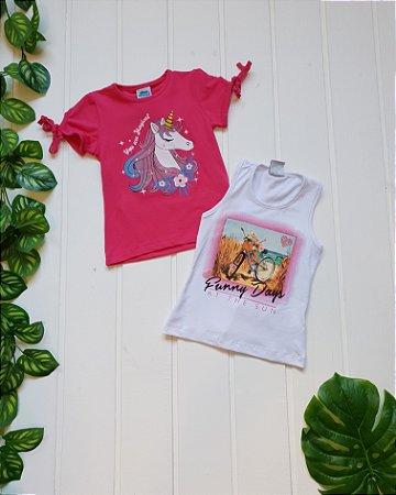 Blusa Infantil Feminina - Blusa + Regata - Combo 2 peças