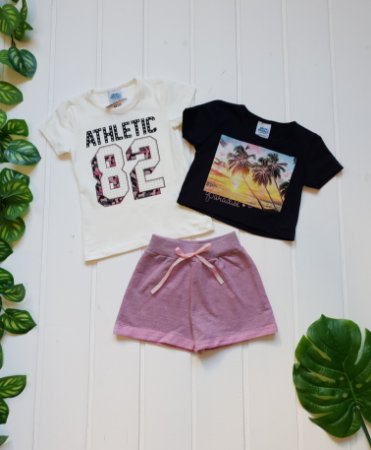 Conjunto Infantil Feminino - Blusa + Cropped + Short - Combo 3 peças