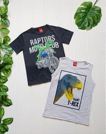 Camiseta Infantil Masculina - Combo 2 peças Dinossauro