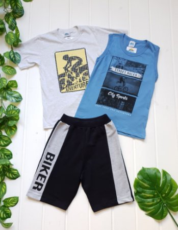 Conjunto Juvenil Masculino - Regata + Camiseta + Bermuda - Combo 3 peças