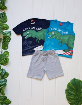 Conjunto Infantil Masculino Dinossauro - Regata + Camiseta + Bermuda - Combo 3 peças