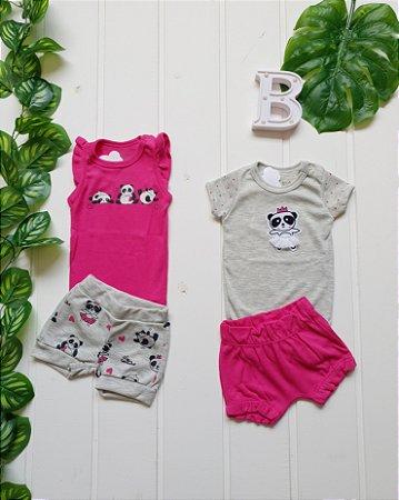 Conjunto Bebê Menina - 2 Bodys + 2 Shorts - Combo 4 peças