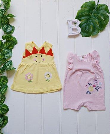 Vestido + Macacão Bebê Menina - Combo 2 peças
