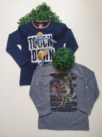 Combo 2 Camisetas 4 a 8 Masculinas Manga Longa - Kyly