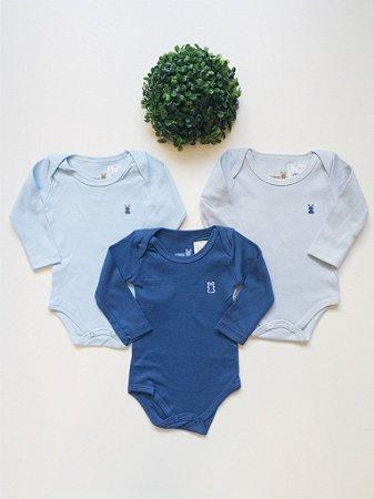 Combo 3 Bodys Bebê Lisos Manga Longa