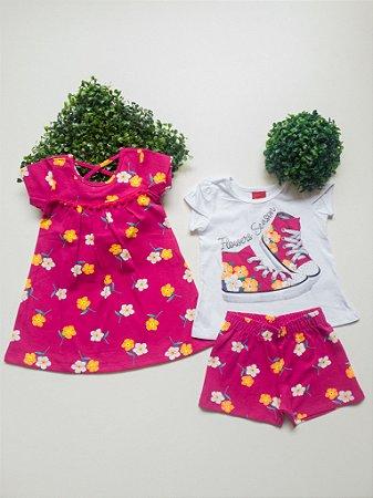 Combo Floral Vestido + Conjunto 1 a 3 Feminino