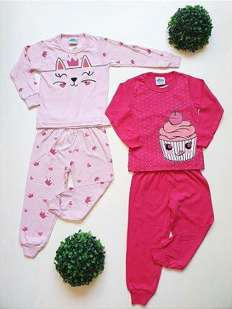 Combo 2 Pijamas Divertidos 1 a 3 Fem - Bicho Bagunça