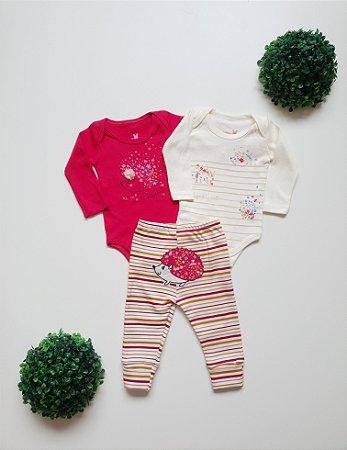 Combo Ouriço 2 Bodys + Calça Bebê Fem - Kiko Baby