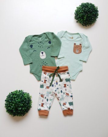 Combo Urso da Floresta 2 Bodys + Calça Bebê Masc - Kiko Baby