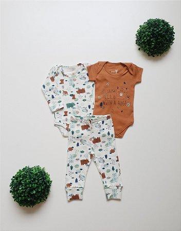 Combo Body Curto + Body Longo + Calça Bebê Masc - Kiko Baby