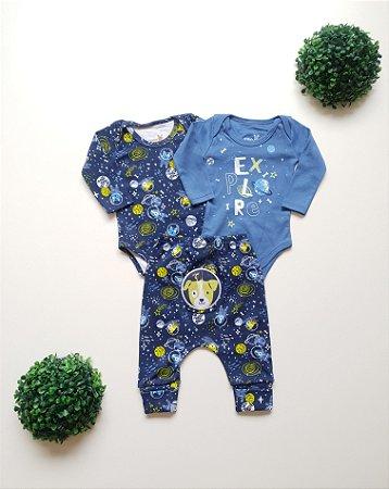 Combo Espaço 2 Bodys + Calça Bebê Masc - Kiko Baby