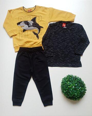 Combo Tubarão Conjunto + Camiseta 2 a 3 Masc - Kyly