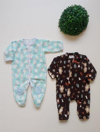 Combo 2 Macacões longo Soft Bebê - Nuvem Azul