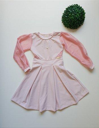 Vestido Infantil Festa Manga Tule - Tam 6 a 8 - Kiki Xodó