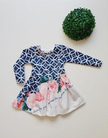 Vestido Infantil Festa Fllores - Tam 1 ao 3 - Kiki Xodó
