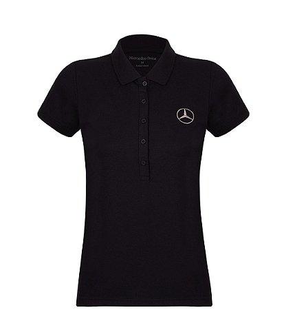 Camisa Polo Oficial Feminina Mercedes-Benz Preto