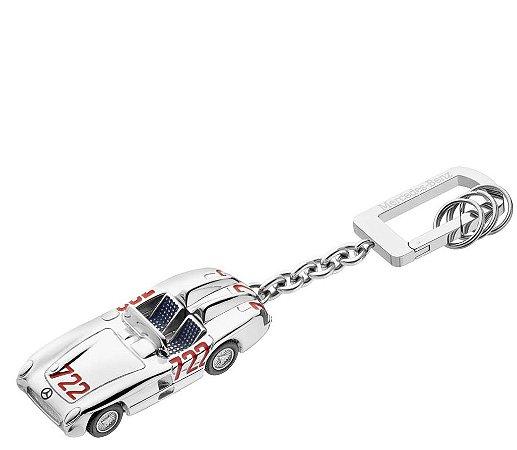 Chaveiro 722 Prata Cinza Aço Vermelho Inox Unissex Mercedes-Benz