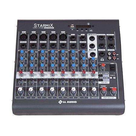 Mesa De Som Mixer Ll Audio XMS802r 8 Canais Bluetooth