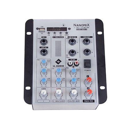 Mesa De Som Mixer Nanomix LL Audio Na302R BT 3 Canais